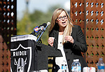 Reno Mayor Hillary Schieve speaks at a press conference in Reno, Nev., on Thursday, Aug. 16, 2018. The Raiders are considering several potential training camp locations in Reno. (Cathleen Allison/Las Vegas Review-Journal)