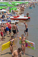 Sunny Beach, Nesebar, Bulgaria..Holidaymakers at the start of the summer tourist season at Sunny Beach, the largest holiday resort in the Balkans, and a popular destination for cheap foreign package tours.