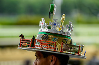 ELMONT, NY - JUNE 09: A fan wears a decorative hat on Belmont Stakes Day at Belmont Park on June 9, 2018 in Elmont, New York. (Photo by Carson Dennis/Eclipse Sportswire/Getty Images)