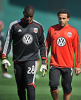 Dwayne De Rosario (7) with Bill Hamid (28) of D.C. United during pre-game warmups. The Columbus Crew defeated D.C. United 2-1 ,at RFK Stadium, Saturday March 23,2013.
