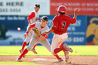 August 3rd 2008:  Second Baseman Bryan Frew of the Williamsport Crosscutters, Class-A affiliate of the Philadelphia Phillies, during a game at Dwyer Stadium in Batavia, NY.  Photo by:  Mike Janes/Four Seam Images