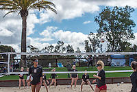 Stanford, Ca - March 4, 2017: The Stanford Cardinal vs the Santa Clara Broncos at Beach Volleyball Stadium. Final score Stanford 5, Santa Clara 0.
