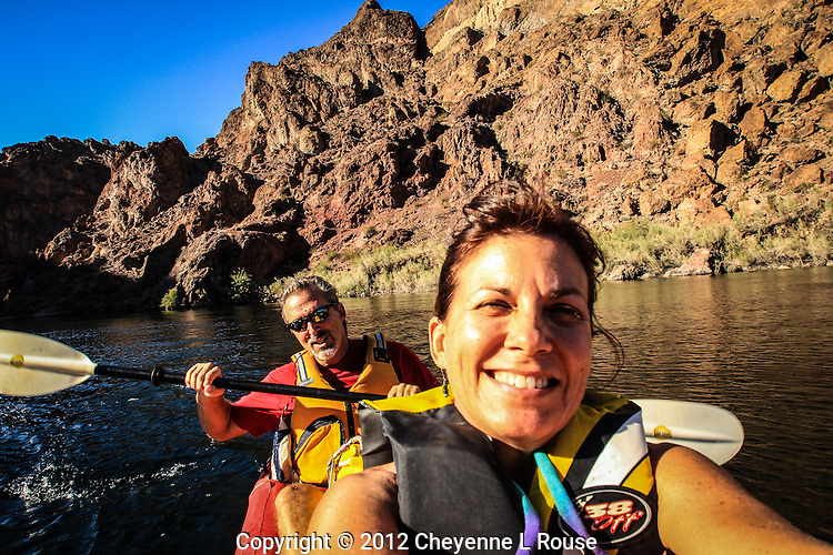 A day at the office! Photographer Kerrick James and I paddling the Colorado River to get to our photo location.