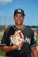 GCL Marlins pitcher Jonaiker Villalobos (58) poses for a photo after a game against the GCL Cardinals on August 4, 2018 at Roger Dean Chevrolet Stadium in Jupiter, Florida.  GCL Marlins defeated GCL Cardinals 6-3.  (Mike Janes/Four Seam Images)