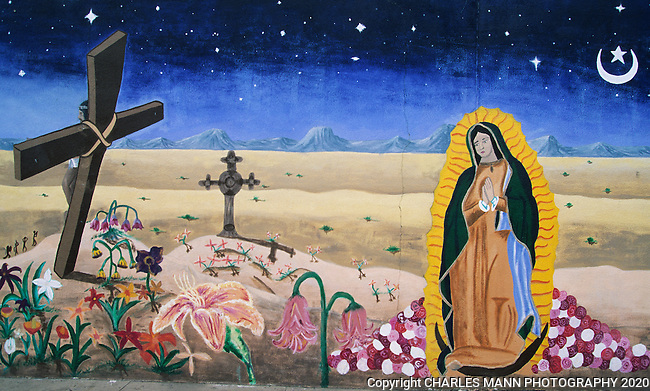 This exotic mural in the South Centraldistrict of Albuquerque, New Mexico, with its Salvador Dali like  curving cross, wilting flowers crescent moon, create a surreal setting for the appearance of the Virgin of Guadalpue.