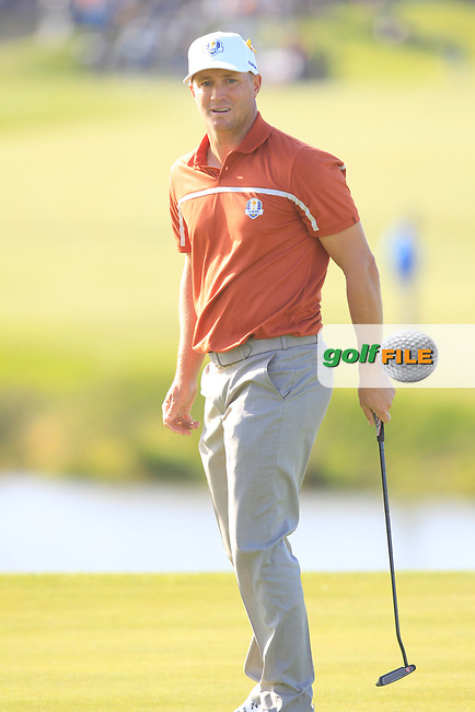 Alex Noren (Team Europe) on the 10th green during Saturday Foursomes at the Ryder Cup, Le Golf National, Ile-de-France, France. 29/09/2018.<br /> Picture Thos Caffrey / Golffile.ie<br /> <br /> All photo usage must carry mandatory copyright credit (© Golffile | Thos Caffrey)