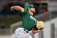 Daytona Tortugas pitcher Barrett Astin (17) delivers a pitch during a game against the Fort Myers Miracle on June 18, 2015 at Hammond Stadium in Fort Myers, Florida.  Fort Myers defeated Daytona 4-1.  (Mike Janes/Four Seam Images)