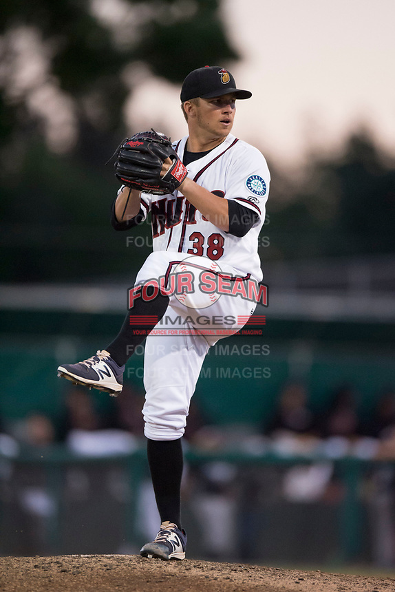 Modesto Nuts relief pitcher Randy Bell (38) prepares to deliver a pitch during a California League game against the Lake Elsinore Storm at John Thurman Field on May 12, 2018 in Modesto, California. Lake Elsinore defeated Modesto 4-1. (Zachary Lucy/Four Seam Images)
