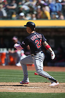 OAKLAND, CA - MAY 12:  Carlos Gonzalez #24 of the Cleveland Indians bats against the Oakland Athletics during the game at the Oakland Coliseum on Sunday, May 12, 2019 in Oakland, California. (Photo by Brad Mangin)