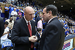11 November 2016: Marist head coach Mike Maker (left) talks with Duke head coach Mike Krzyzewski (right) before the game. The Duke University Blue Devils hosted the Marist College Red Foxes at Cameron Indoor Stadium in Durham, North Carolina in a 2016-17 NCAA Division I Men's Basketball game. Duke won the game 94-49.