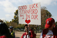 3 April 2008: The team departs for the Final Four and is sent off by fans and staff of the Athletic Department near Maples Pavilion in Stanford, CA.