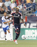 New England Revolution forward Saer Sene (39) prepares to shoot. In a Major League Soccer (MLS) match, Montreal Impact defeated the New England Revolution, 1-0, at Gillette Stadium on August 12, 2012.