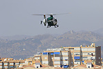 Police helicopter hovers over the peloton during Stage 4 of the La Vuelta 2018, running 162km from Velez-Malaga to Alfacar, Sierra de la Alfaguara, Andalucia, Spain. 28th August 2018.<br /> Picture: Eoin Clarke   Cyclefile<br /> <br /> <br /> All photos usage must carry mandatory copyright credit (&copy; Cyclefile   Eoin Clarke)