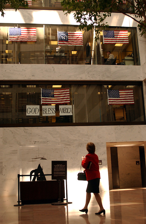 1flags091701 -- American Flags hang in the Hart Senate Office Building..