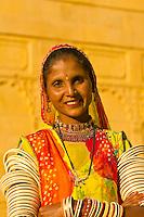 Rajasthani woman outside the Gorbandh Palace Hotel, Jaisalmer, Rajasthan, India