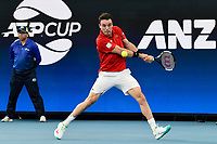 10th January 2020; Sydney Olympic Park Tennis Centre, Sydney, New South Wales, Australia; ATP Cup Australia, Sydney, Day 8; Belgium versus Spain; Kimmer Coppejans of Belgium versus Roberto Bautista Agut of Spain; Roberto Bautista Agut of Spain hits a backhand to Kimmer Coppejans of Belgium - Editorial Use