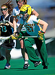14 April 2010: University of Vermont Catamount goalkeeper Laura Barber, a Sophomore from Middlebury, VT, in action against the Le Moyne College Dolphins at Moulton Winder Field in Burlington, Vermont. The Lady Cats defeated the visiting Dolphins 13-9. Mandatory Photo Credit: Ed Wolfstein Photo