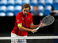 3rd January 2020; RAC Arena, Perth, Western Australia; ATP Cup Australia, Perth, Day 1, Russia versus Italy; Daniel Medvedev of Russia plays a volley at the net against Italy in the doubles - Editorial Use