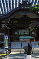 A monk at Yutenji temple, Yutenji, Tokyo, Japan. Saturday November 2nd 2019
