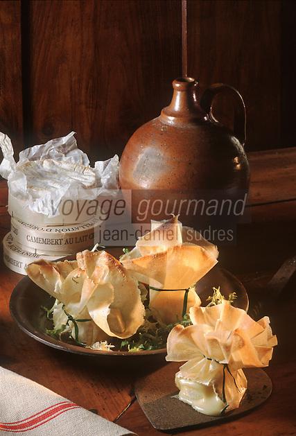 """Europe/ France/ 50 /Manche/Pontorson: Bricks de Camembert chaud - Recette de A. Lebellegard du restaurant """"Le Montgomery"""""""
