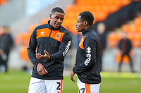 Blackpool's Donervon Daniels has a word with Marc Bola during the warm up<br /> <br /> Photographer Alex Dodd/CameraSport<br /> <br /> The EFL Sky Bet League One - Blackpool v Sunderland - Tuesday 1st January 2019 - Bloomfield Road - Blackpool<br /> <br /> World Copyright © 2019 CameraSport. All rights reserved. 43 Linden Ave. Countesthorpe. Leicester. England. LE8 5PG - Tel: +44 (0) 116 277 4147 - admin@camerasport.com - www.camerasport.com