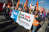 Save Our Hospitals.  Health workers and residents march to protest at proposals to close the A&E departments of Hammersmith, Charing Cross, Ealing and Central Middlesex hospitals.