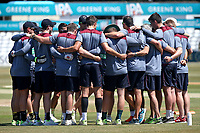 Somerset players huddle ahead of Essex CCC vs Somerset CCC, Specsavers County Championship Division 1 Cricket at The Cloudfm County Ground on 25th June 2018