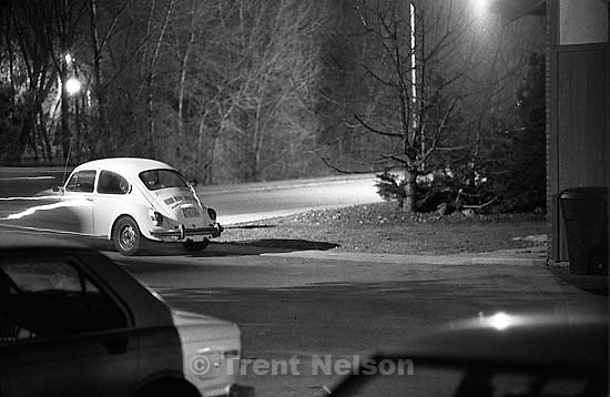 This guy kept parking his SAAB in our parking lot, so this night we had it towed.<br />