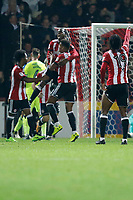 GOAL - Ollie Watkins of Brentford is mobbed after scoring during the Sky Bet Championship match between Brentford and Derby County at Griffin Park, London, England on 26 September 2017. Photo by Carlton Myrie / PRiME Media Images.