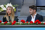 Real Madrid's Alvaro Morata (r) with his girlfriend Alice Campello during Madrid Open Tennis 2017 match. May 12, 2017.(ALTERPHOTOS/Acero)