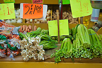 Scallions, Carrots, Celery, Produce. Grand Central Market, Urban, Downtown, Farm-fresh produce, fresh, fruits, Grand Central, Market, Los Angeles CA, Public, Southern California,