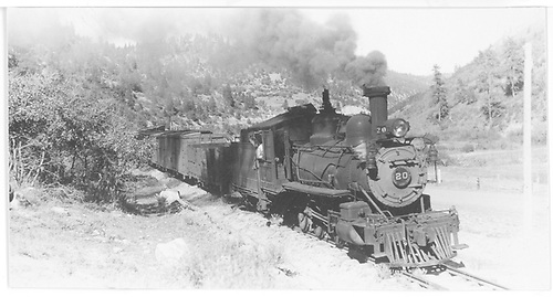 Pilot end, engineer side view of RGS #20 coming into Brown with a southbound freight.<br /> RGS  Brown, CO  Taken by Perry, Otto C. - 9/27/1942