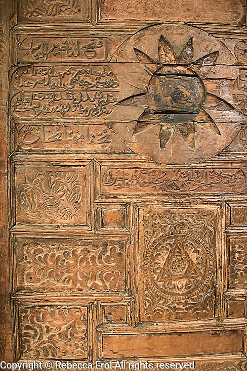 Wooden carved door of the Ulu Mosque, Adiyaman, Turkey