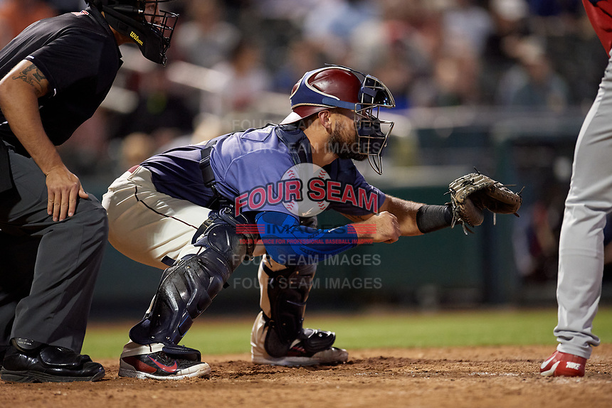 Frisco RoughRiders catcher Tony Sanchez (55) during a Texas League game against the Springfield Cardinals on May 4, 2019 at Dr Pepper Ballpark in Frisco, Texas.  (Mike Augustin/Four Seam Images)