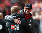 Jurgen Klopp manager of Liverpool greets Eddie Howe manager of Bournemouth during the Premier League match at Anfield, Liverpool. Picture date: 7th March 2020. Picture credit should read: Darren Staples/Sportimage