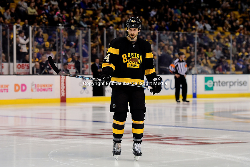 Saturday, November 5, 2016: Boston Bruins defenseman Adam McQuaid (54) waits for play to begin during the National Hockey League game between the New York Rangers and the Boston Bruins held at TD Garden, in Boston, Mass. The Rangers defeat the Bruins 5-2. Eric Canha/CSM