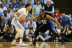 17 February 2016: Duke's Matt Jones (13) defends against North Carolina's Justin Jackson (44). The University of North Carolina Tar Heels hosted the Duke University Blue Devils at the Dean E. Smith Center in Chapel Hill, North Carolina in a 2015-16 NCAA Division I Men's Basketball game. Duke won the game 74-73.
