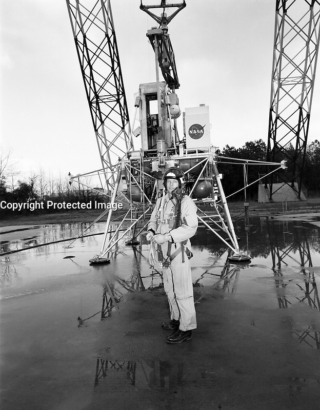 Langley Research Center  (VA) USA - Feb 12, 1969- Neil Armstrong at the Lunar Landing Research Facility (LLRF).