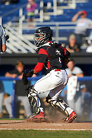 Batavia Muckdogs catcher Pablo Garcia (7) during a game against the West Virginia Black Bears on August 21, 2016 at Dwyer Stadium in Batavia, New York.  West Virginia defeated Batavia 6-5. (Mike Janes/Four Seam Images)