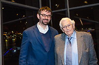 Seamus Mallon, retired leader, SDLP, political party, N Ireland, UK, at Belfast launch of Maurice Fitzpatrick&rsquo;s book, John Hume in America: From Derry to DC, at the Titanic Building, pictured with the author, 25th January 2018, 201801254791<br /><br />Copyright Image from Victor Patterson, 54 Dorchester Park, <br />Belfast, UK, BT9 6RJ<br /><br />t1: +44 28 9066 1296 (from Rep of Ireland 048 9066 1296)<br />t2: +44 28 9002 2446 (from Rep of Ireland 048 9002 2446)<br />m: +44 7802 353836<br /><br />victorpatterson@me.com<br />www.victorpatterson.com<br /><br />Please see my Terms and Conditions of Use at VICTORPATTERSON.COM. It is IMPORTANT that you familiarise yourself with them.<br /><br />Images used on the Internet must be visibly watermarked i.e. &copy;VICTORPATTERSON.COM within the body of the image and copyright metadata must not be deleted. Images used on the Internet have a size restriction of 4kbs and are chargeable at the then current NUJ rates.<br /><br />This image is only available for the use of the download recipient i.e. television station, newspaper, magazine, book publisher, etc, and must not be passed on to any third party. It is also downloaded on condition that each and every usage is notified within 7 days to victorpatterson@me.com<br /><br />The right of Victor Patterson to be identified as the author is asserted in accordance with The Copyright Designs And Patents Act (1988).