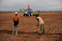 Afrika ANGOLA Malanje Black Stone Farm, eine 20.000 Hektar grosse Farm der chinesischen Firma CITIC construction corporation und der angolanischen Agentur Gesterra, die den Ausbau von Grossfarmen in Angola foerdert, Aussaat von Monsanto Hybrid Mais mit chinesischem Traktor and John Deere Saatmaschine / ANGOLA Malanje Black Stone Farm, a 20.000 hectare farm of chinese company CITIC construction corporation and angolian agency Gesterra which promotes large scale farms in Angola, seeding of Monsanto hybrid maize with chinese tractor and John Deere seeding machine