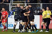 Beno Obano of Bath Rugby celebrates his try with team-mates. European Rugby Champions Cup match, between Bath Rugby and RC Toulon on December 16, 2017 at the Recreation Ground in Bath, England. Photo by: Patrick Khachfe / Onside Images