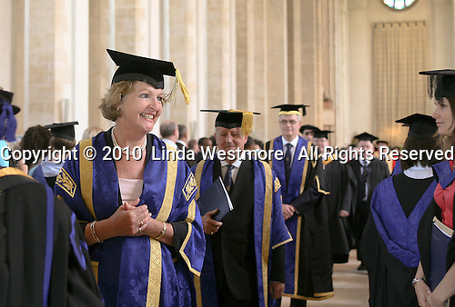 Dignitaries, including the Pro-Chancellor, actress Penelope Keith,  prepare for the Graduation Ceremony, University of Surrey.