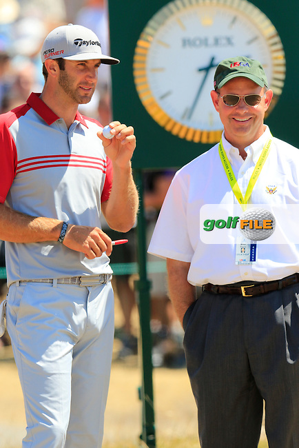Dustin JOHNSON (USA) on the 1st tee to start his match during Saturday's Round 3 of the 2015 U.S. Open 115th National Championship held at Chambers Bay, Seattle, Washington, USA. 6/20/2015.<br /> Picture: Golffile | Eoin Clarke<br /> <br /> <br /> <br /> <br /> All photo usage must carry mandatory copyright credit (&copy; Golffile | Eoin Clarke)