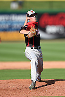 Tampa Spartans pitcher Kevin Martin (4) delivers a pitch during an exhibition game against the Philadelphia Phillies on March 1, 2015 at Bright House Field in Clearwater, Florida.  Tampa defeated Philadelphia 6-2.  (Mike Janes/Four Seam Images)