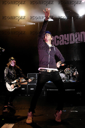 FALL OUT BOY - Gabe Saporta of Cobra Starship on stage with Patrick Stump - performing live on the Decaydance Tour at the Apollo Hammersmith, London UK -  22 Aug 2007.  Photo credit: George Chin/IconicPix