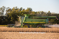 63801-07119 Farmer harvesting soybeans, Marion Co., IL