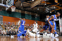 12 January 2012:  FIU guard Jeremy Allen (32) battles over a loose ball in the second half as the Middle Tennessee State University Blue Raiders defeated the FIU Golden Panthers, 70-59, at the U.S. Century Bank Arena in Miami, Florida.