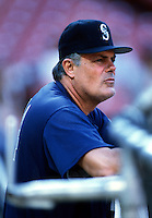 Seattle Mariners Manager Lou Piniella at Anaheim Stadium in Anaheim,California during the 1996 season. (Larry Goren/Four Seam Images)