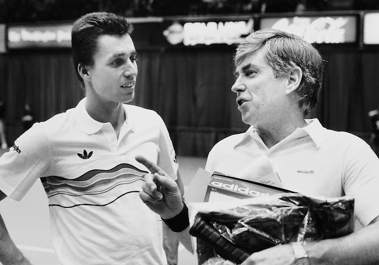 Jack Kemp close to partner in tennis court. (Photo by CQ Roll Call)